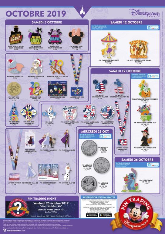 Disneyland Paris October 2019 pin release flyer