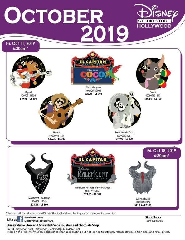 Disney Studio Store Hollywood October 2019 pin release flyer
