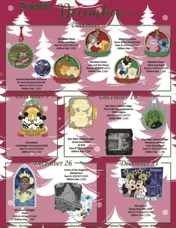 Disneyland Resort pin releases December 2019
