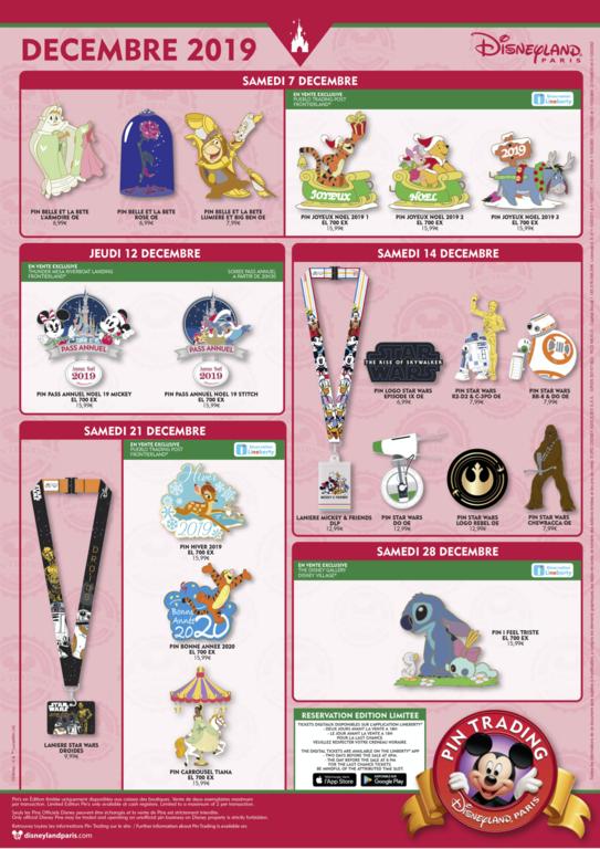 Disneyland Paris December 2019 pin release flyer