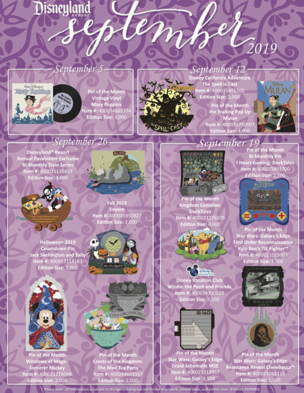 Disneyland Resort September 2019 pin release flyer