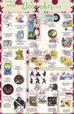 Walt Disney World and Disneyland Resort shared pin releases December 2019