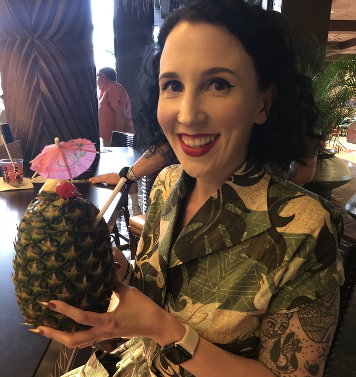 Me wrestling with an enormous Lapu Lapu from Tambu Lounge in the Polynesian Resort