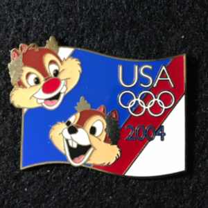 USA 2004 Olympic lanyard starter Chip & Dale  pin