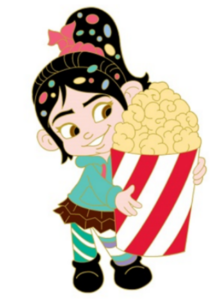 Vanellope with a huge popcorn bucket pin