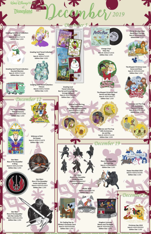 WDW and DLR shared pin releases December 2019