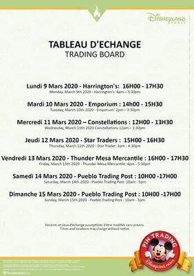 Disneyland Paris Trading Board w/c 9th March 2020