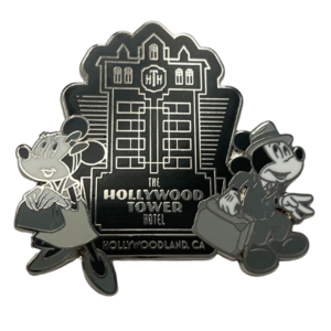 The Hollywood Tower Hotel Black and White  pin