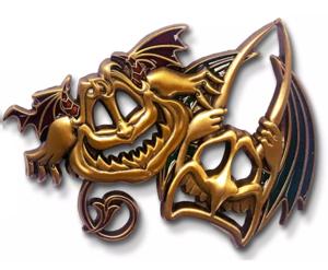 Pain and Panic Masquerade masks pin