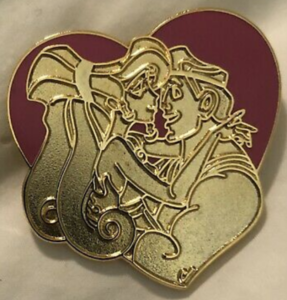 Megara and Hercules - Couple Hearts pin